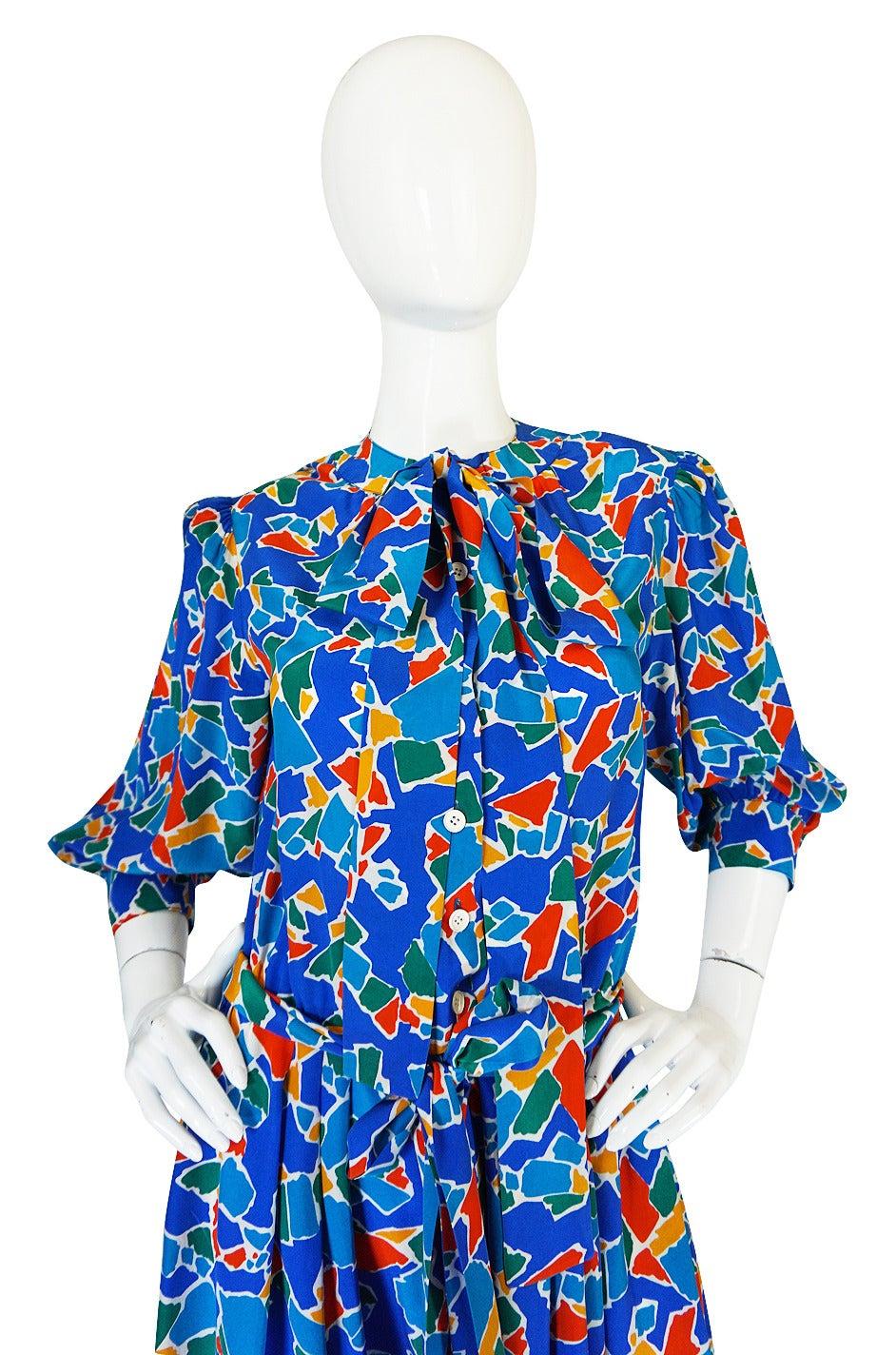 1980s Yves Saint Laurent Blue & Brights Silk Dress 5