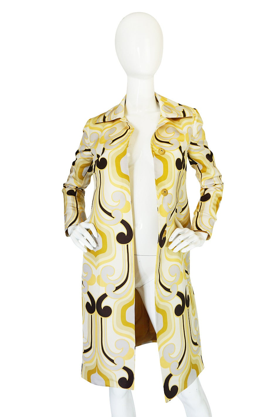 Women's Miu Miu Runway Geometric Print Silk Coat, S/S 2005 For Sale