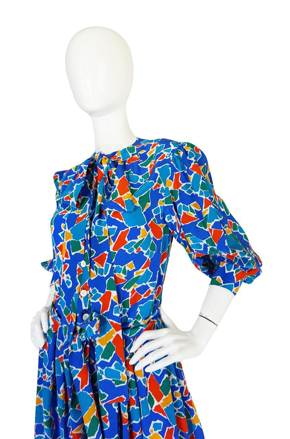 1980s Yves Saint Laurent Blue & Brights Silk Dress 7