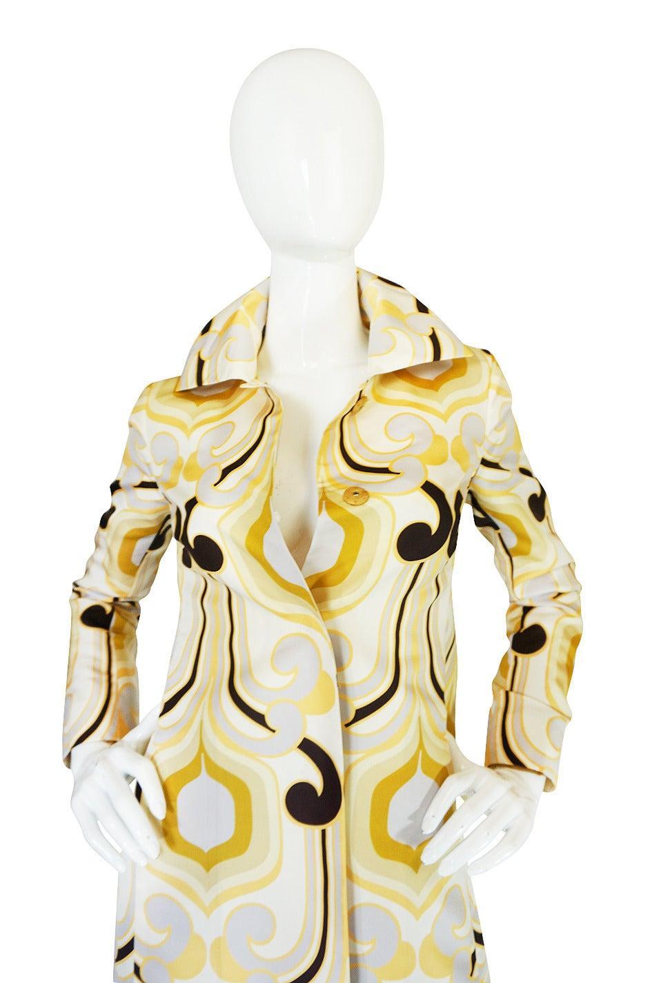 Miu Miu Runway Geometric Print Silk Coat, S/S 2005 For Sale 1