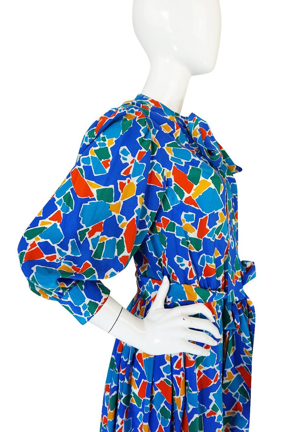 1980s Yves Saint Laurent Blue & Brights Silk Dress 6