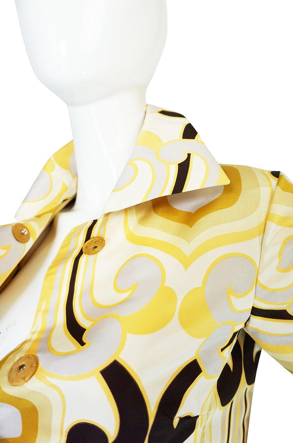 Beige Miu Miu Runway Geometric Print Silk Coat, S/S 2005 For Sale