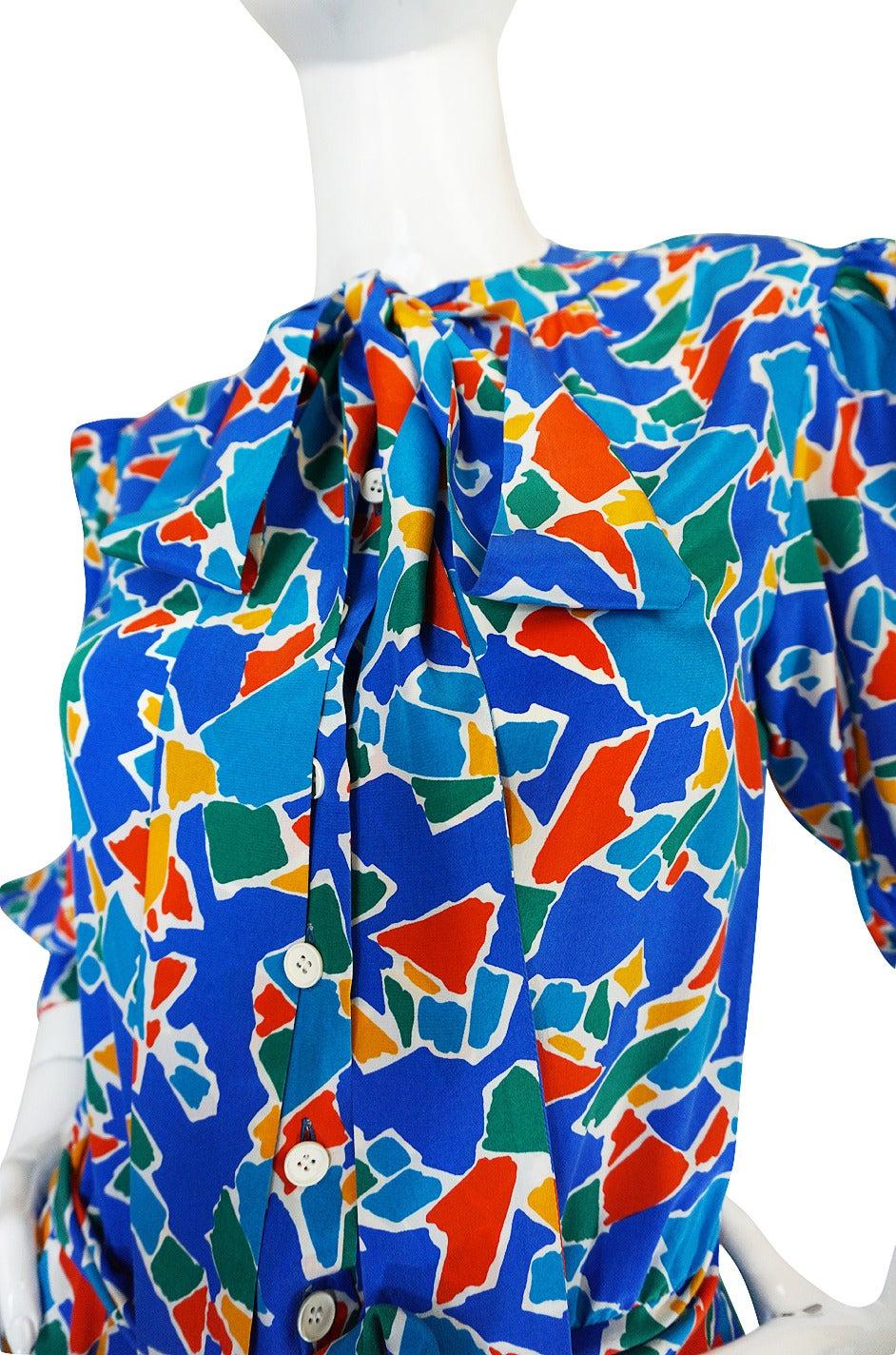 1980s Yves Saint Laurent Blue & Brights Silk Dress 4