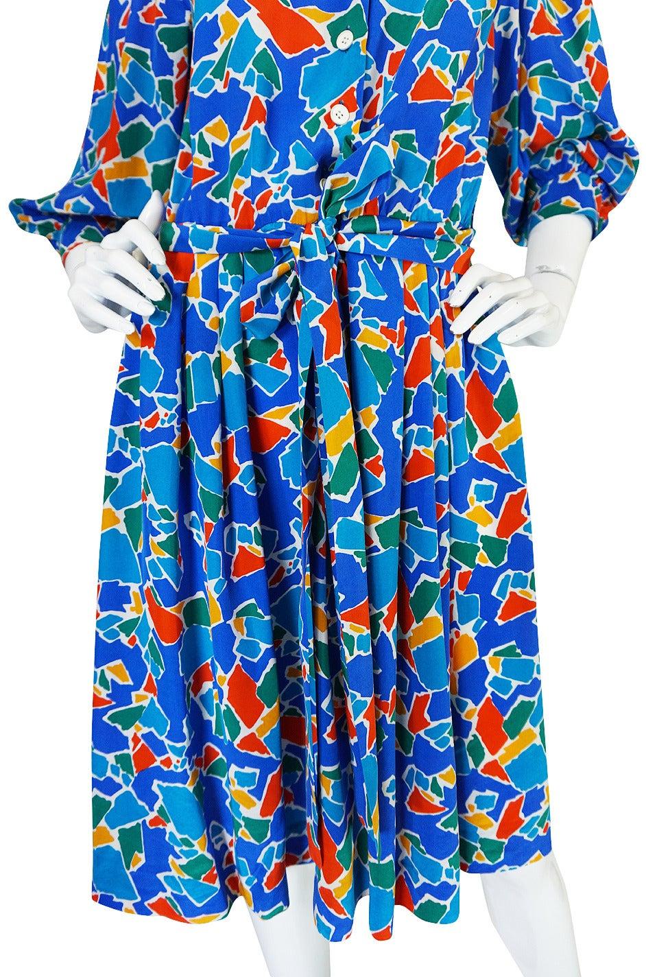 1980s Yves Saint Laurent Blue & Brights Silk Dress 8
