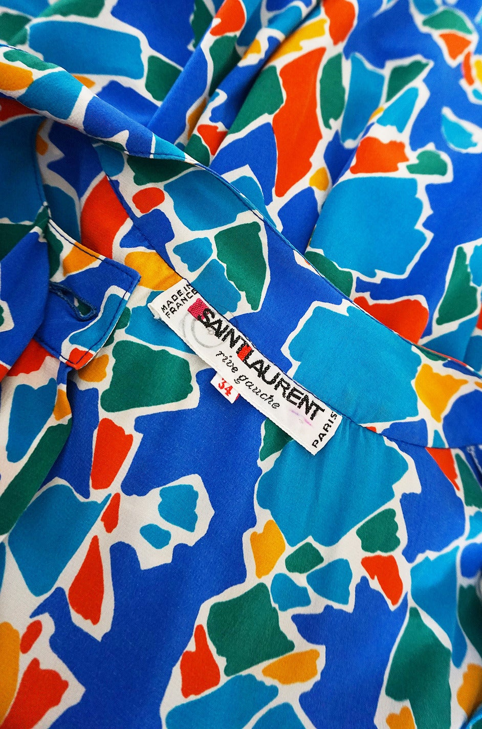 1980s Yves Saint Laurent Blue & Brights Silk Dress 3
