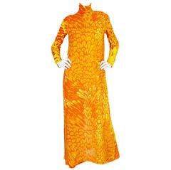 1970s La Mendola Silk Jersey Jumpsuit & Silk Chiffon Overlay