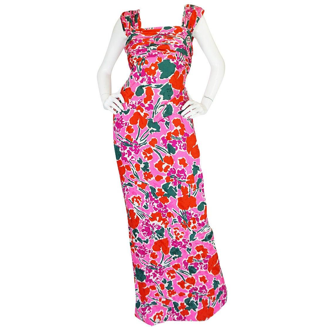 1980s Pink Silk Jacqueline de Ribes attr Print Gown