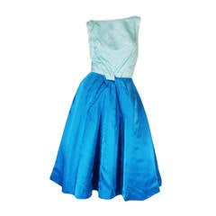 1950s Two Tone Blue Silk Satin Estevez Dress