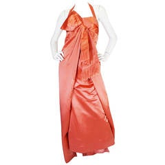 1950s Extraordinary Coral Wrapped Silk Satin Bow Gown