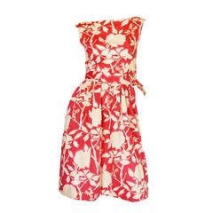 Early 1960s Floral Print Christian Dior New York Dress