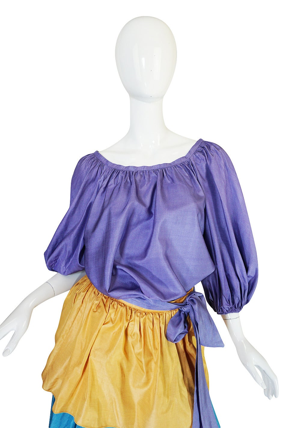 Gray 1970s Yves Saint Laurent Peasant Ruffle Skirt & Top Set For Sale