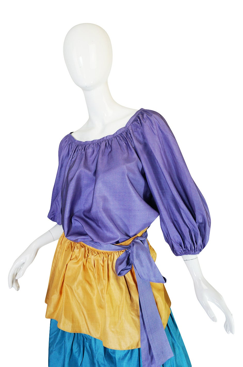 1970s Yves Saint Laurent Peasant Ruffle Skirt & Top Set In Excellent Condition For Sale In Toronto, ON
