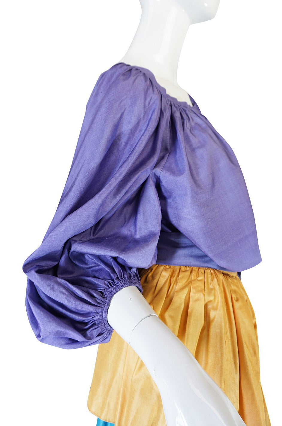 1970s Yves Saint Laurent Peasant Ruffle Skirt & Top Set For Sale 2