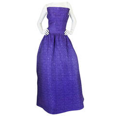 1960s Arnold Scaasi Couture Purple & Silver Gown