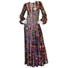 1970s Pierre Cardin Open Weave Metallic Knit Dress