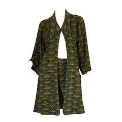 1960s Print Jersey Knit Biba Skirt & Jacket Suit
