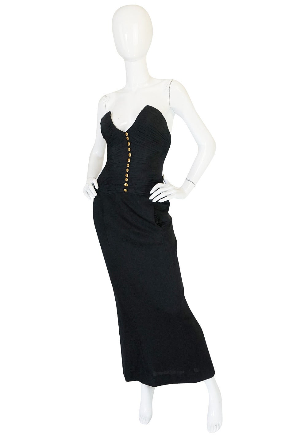 1980s Chanel Black Silk Chiffon & Jersey Fitted Dress 3