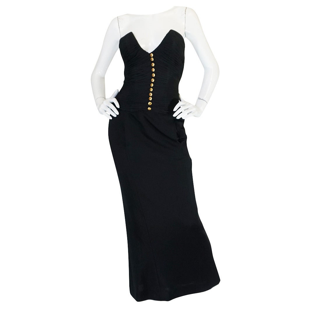 1980s Chanel Black Silk Chiffon & Jersey Fitted Dress 1