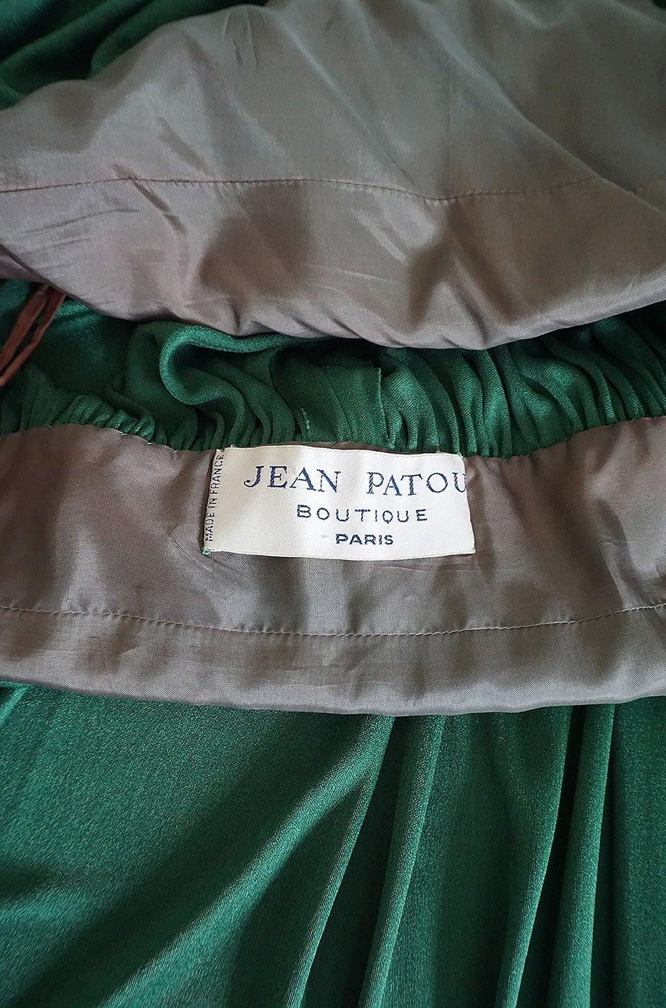 1960s Jean Patou Demi-Couture Green Jersey Caftan Dress 8