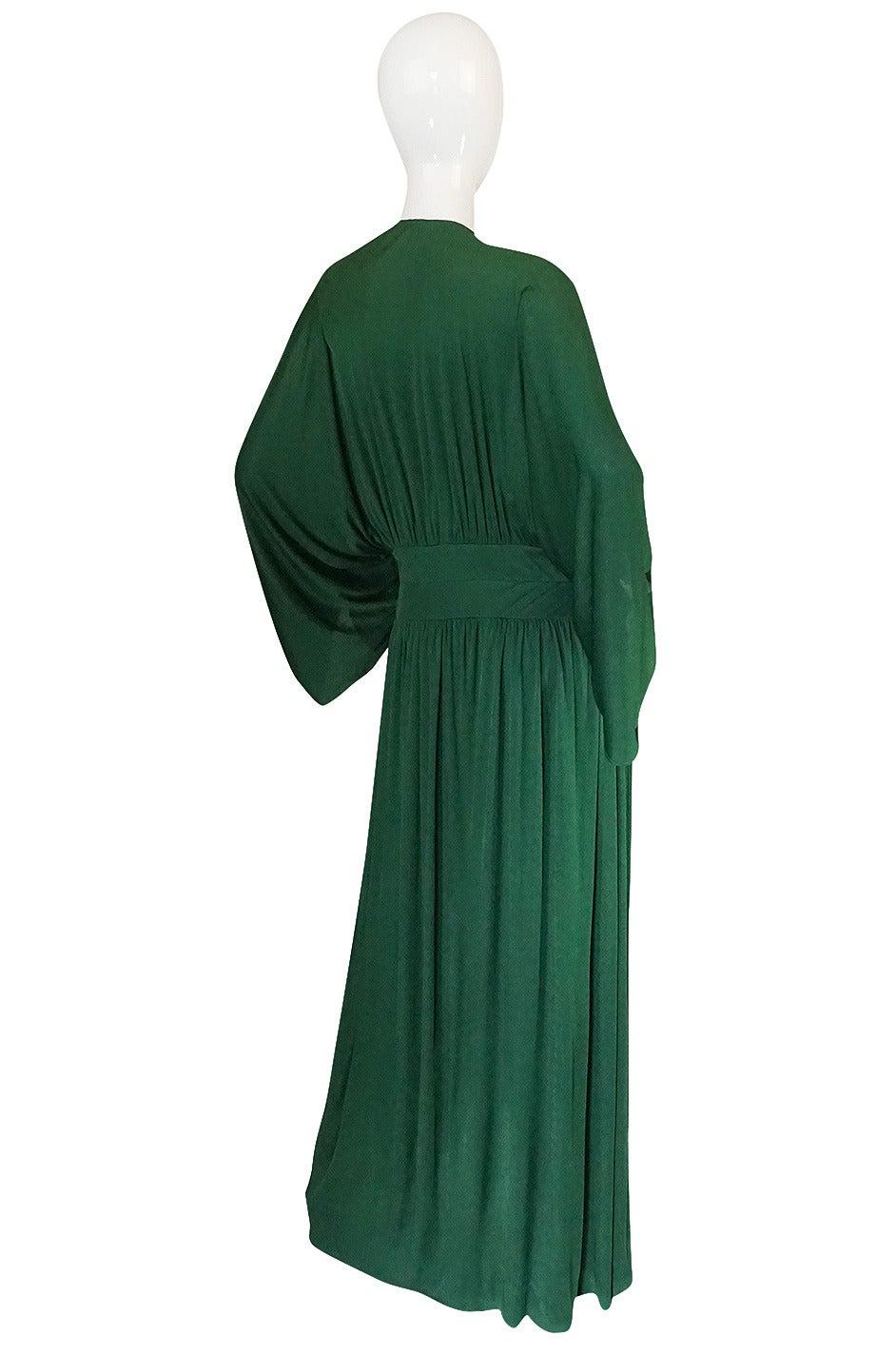 1960s Jean Patou Demi-Couture Green Jersey Caftan Dress 2
