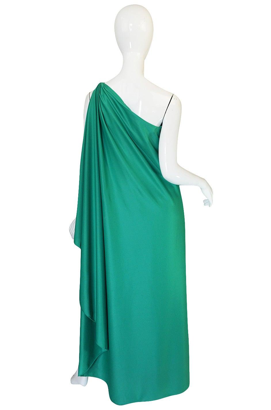 1970s Halston One Shoulder Jersey Green Dress At 1stdibs