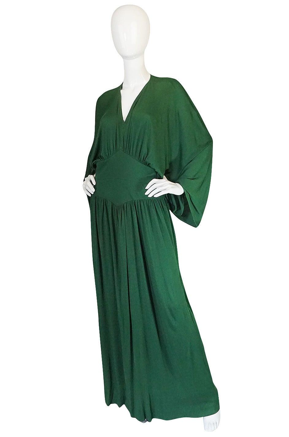 1960s Jean Patou Demi-Couture Green Jersey Caftan Dress 3