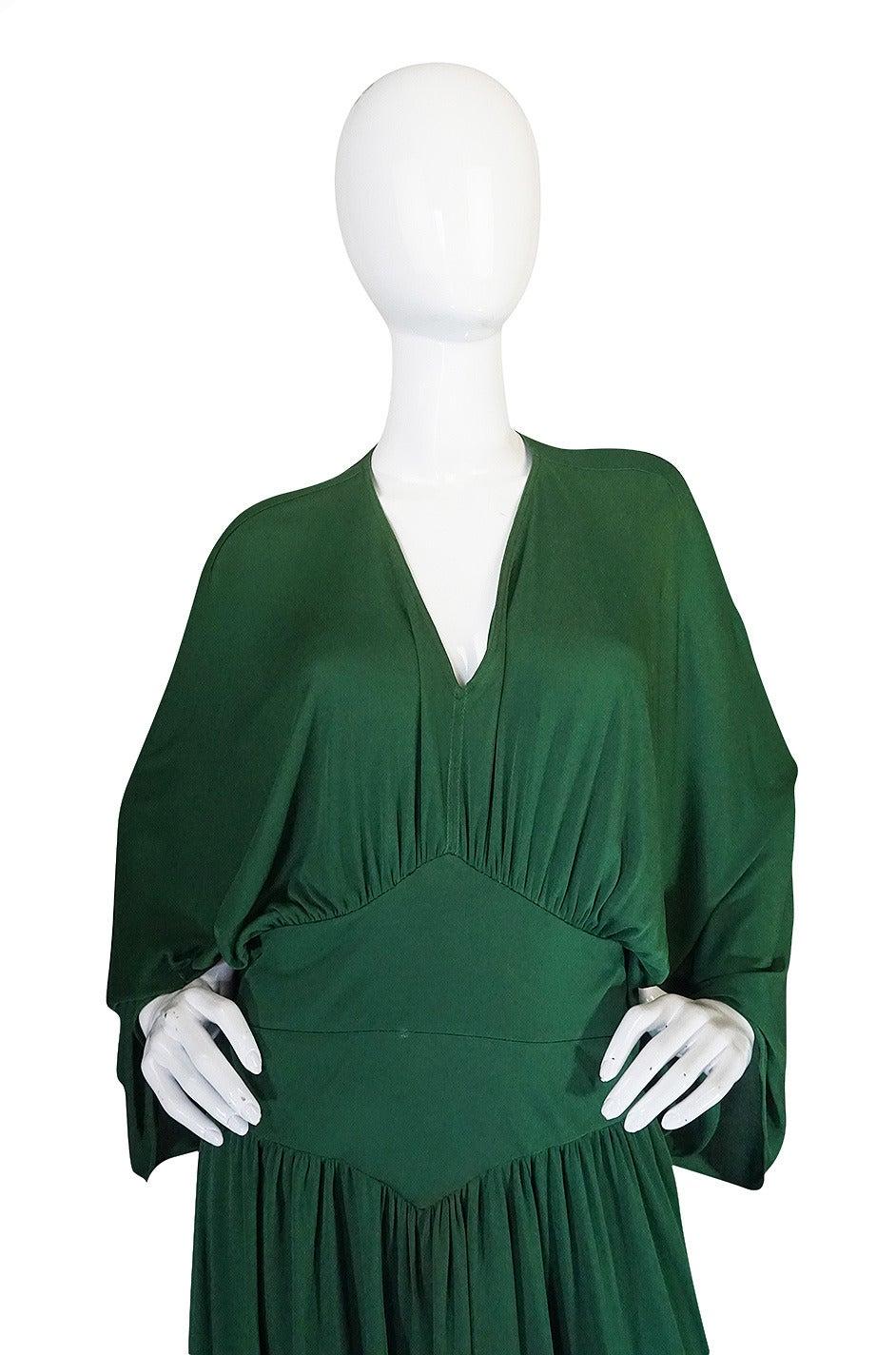 1960s Jean Patou Demi-Couture Green Jersey Caftan Dress 4