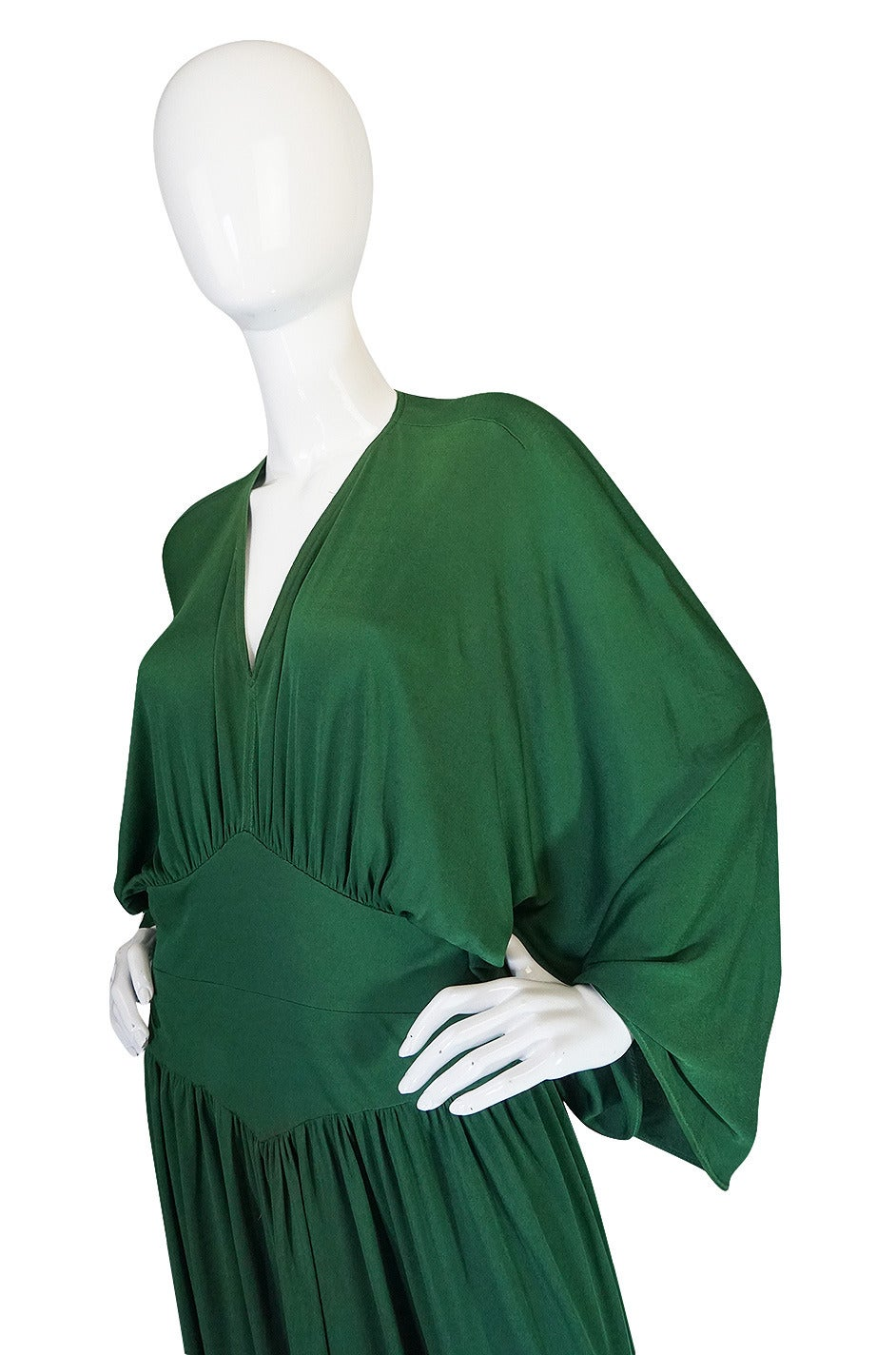 1960s Jean Patou Demi-Couture Green Jersey Caftan Dress 6