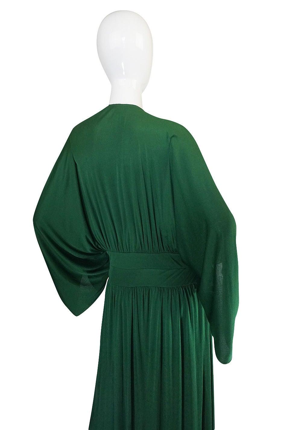 1960s Jean Patou Demi-Couture Green Jersey Caftan Dress 5