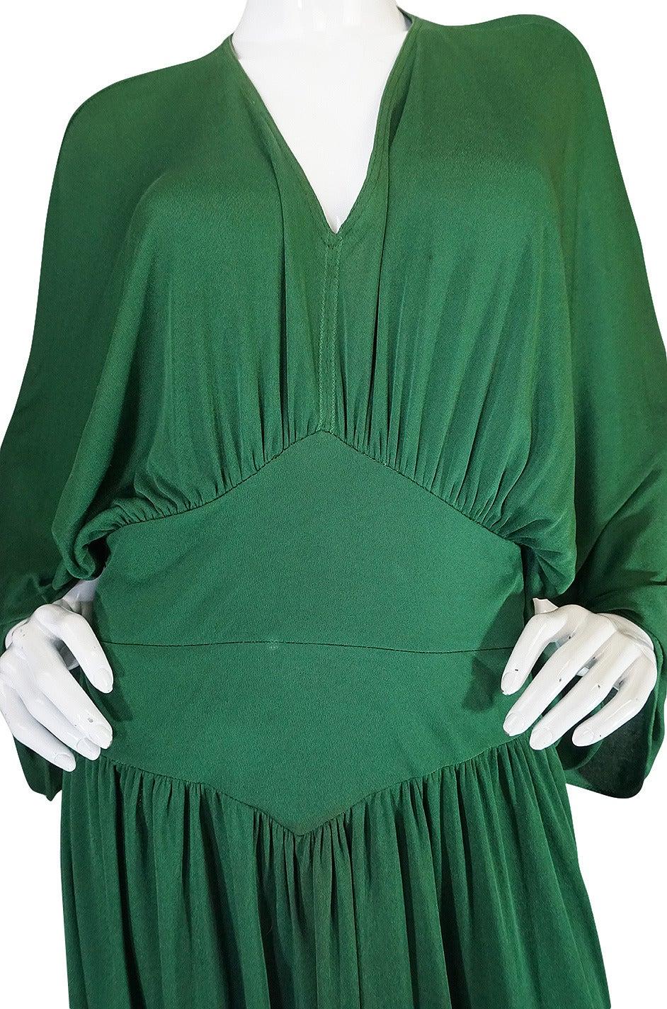 1960s Jean Patou Demi-Couture Green Jersey Caftan Dress 7