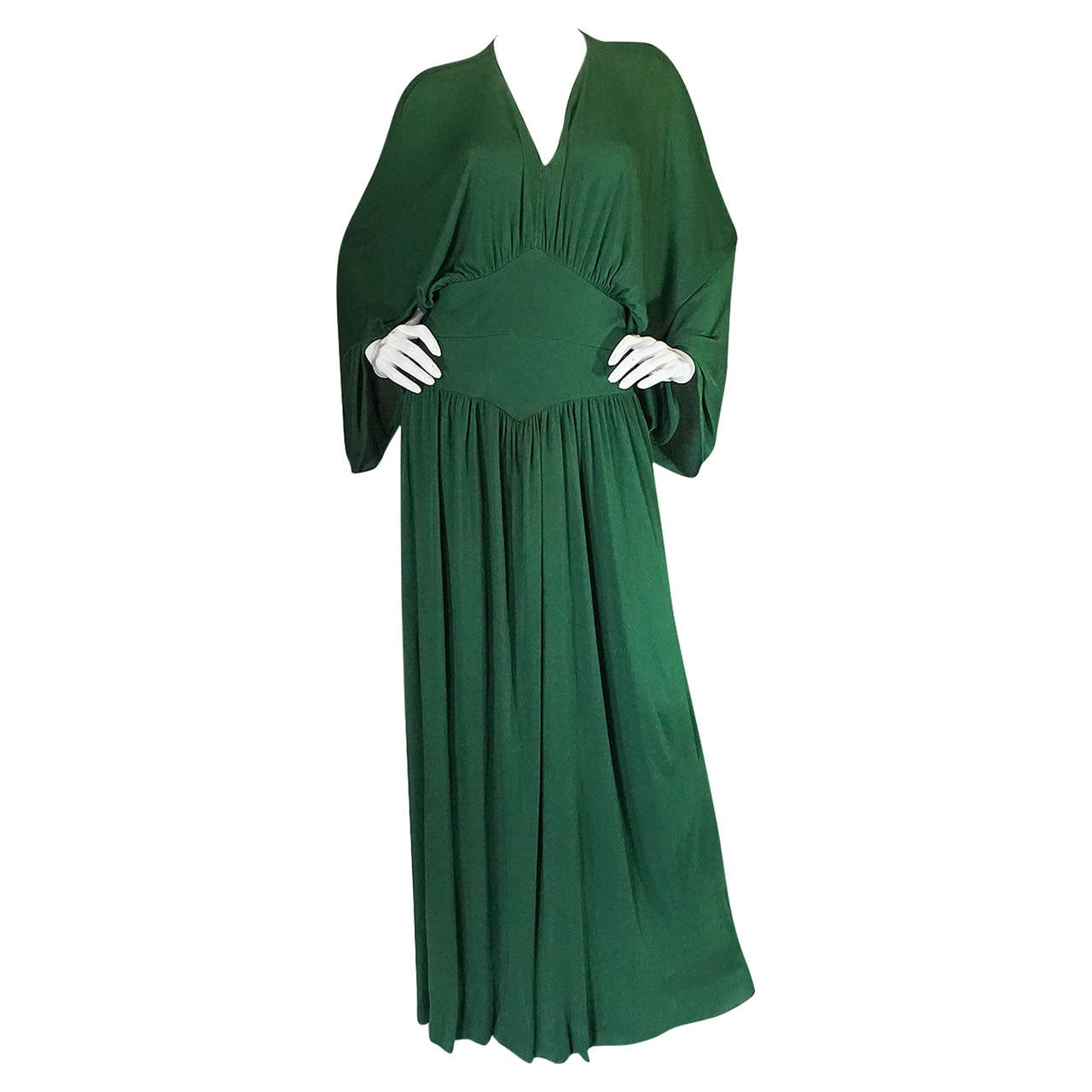1960s Jean Patou Demi-Couture Green Jersey Caftan Dress 1