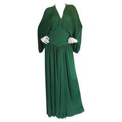 1960s Jean Patou Demi-Couture Green Jersey Caftan Dress