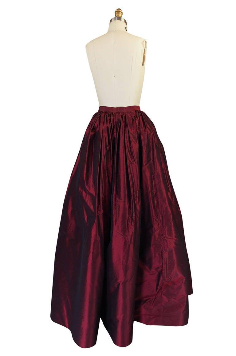 1980s Oscar De La Renta Silk Ball Gown Skirt 2