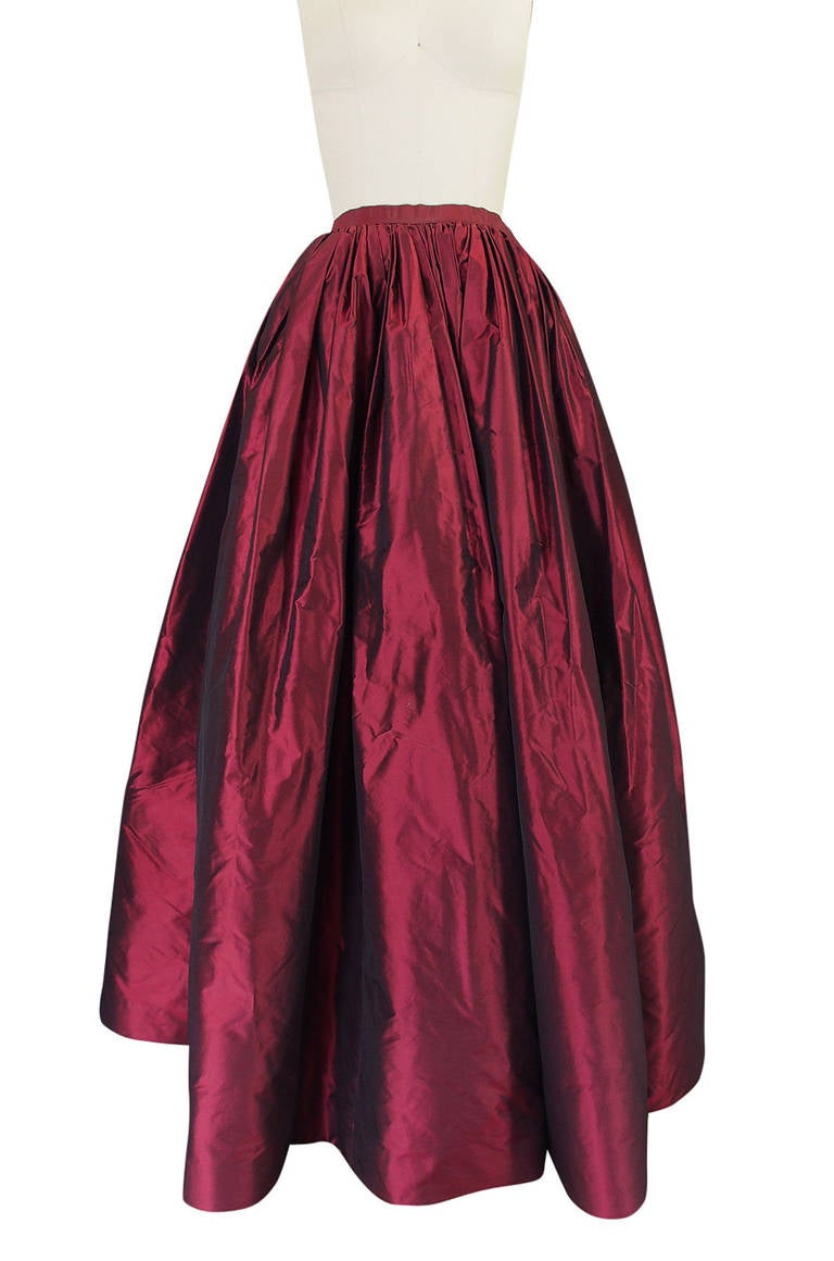 1980s Oscar De La Renta Silk Ball Gown Skirt 4