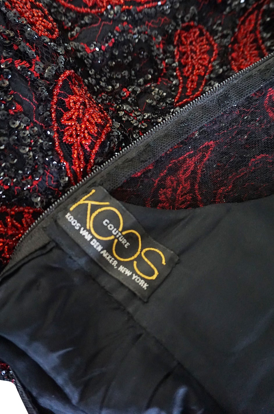 1980s Densely Beaded Fine 'Koos Couture' Dress In Excellent Condition For Sale In Toronto, ON