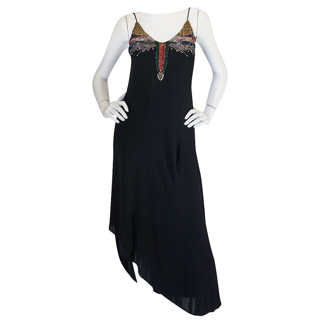 1970s Beaded Black Jersey Stephen Burrows Dress