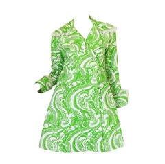 Rare 1960s Annacat Green & White Print Coat or Dress