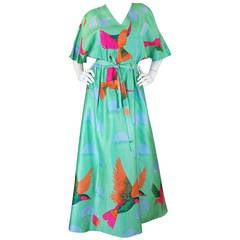 1970s Beautiful & Bright Hanae Mori Bird Caftan Dress