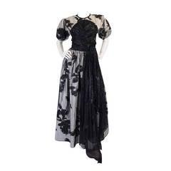 1970s Spectacular Geoffrey Beene Silk Gown