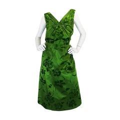c.1955 Jean Desses Green Silk Dress w Fused Velvet Detailing