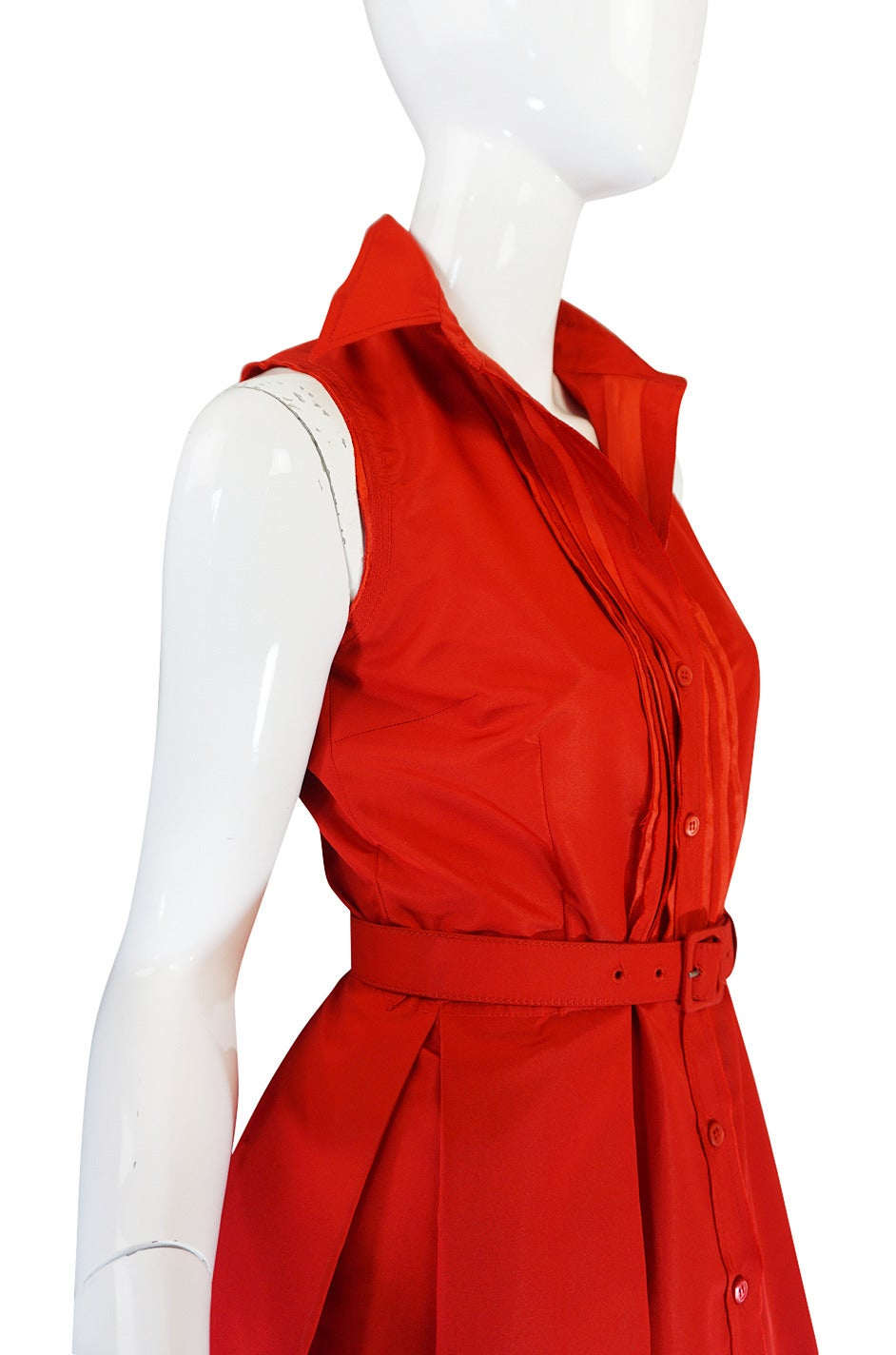 2000s Chic Prada Red Taffeta Button Front Day Dress For Sale 1