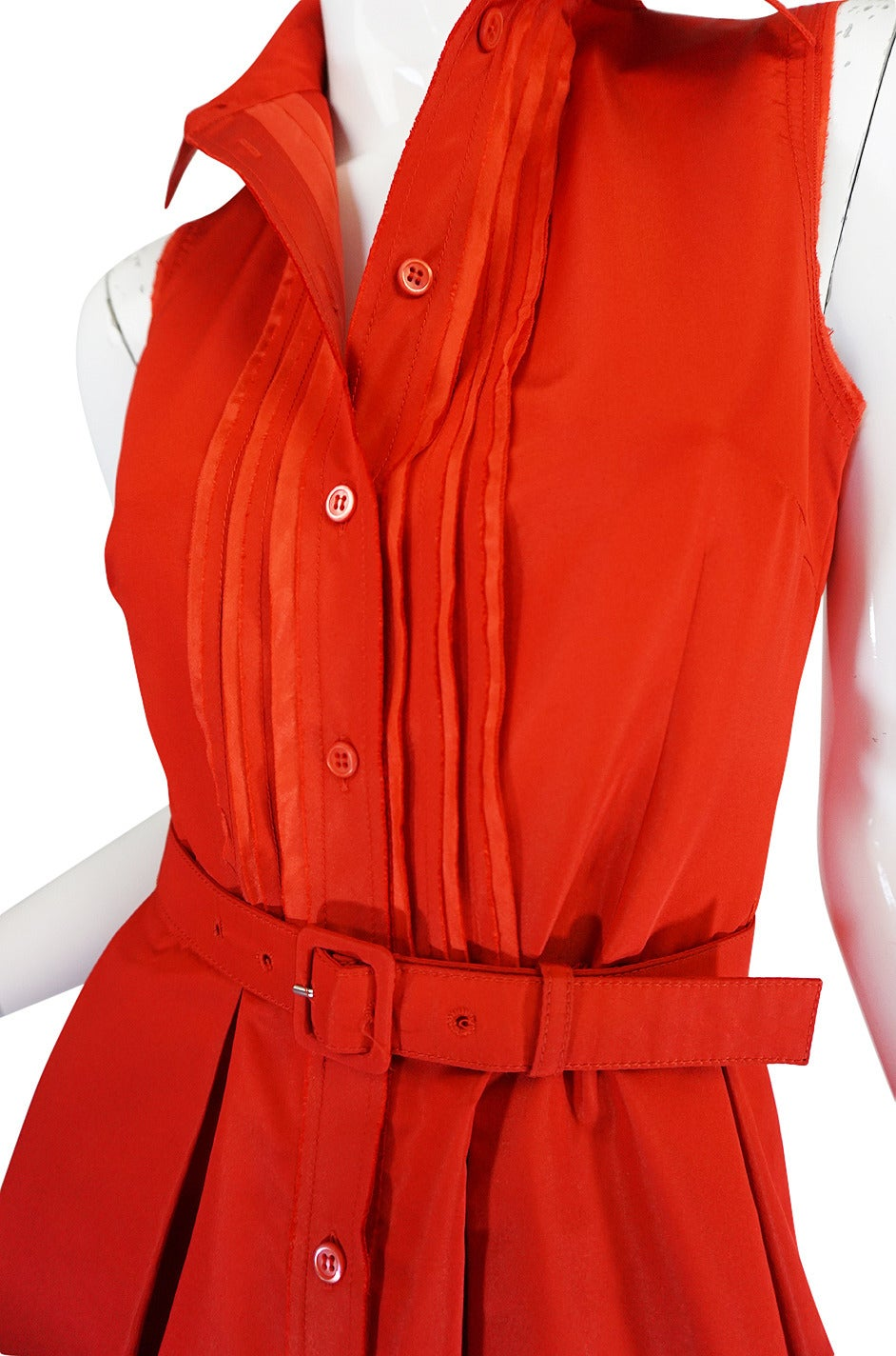 2000s Chic Prada Red Taffeta Button Front Day Dress For Sale 2