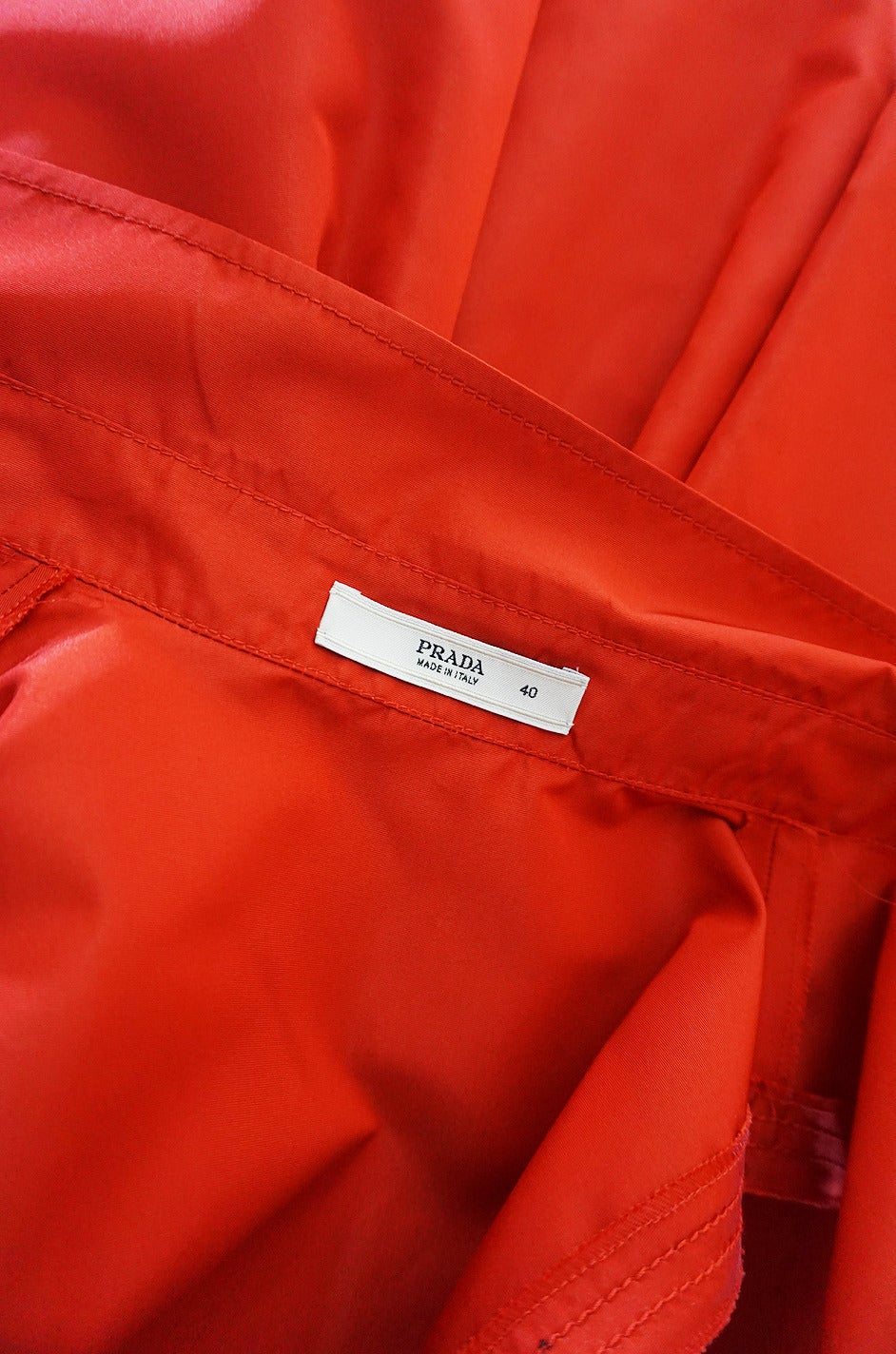 2000s Chic Prada Red Taffeta Button Front Day Dress For Sale 3