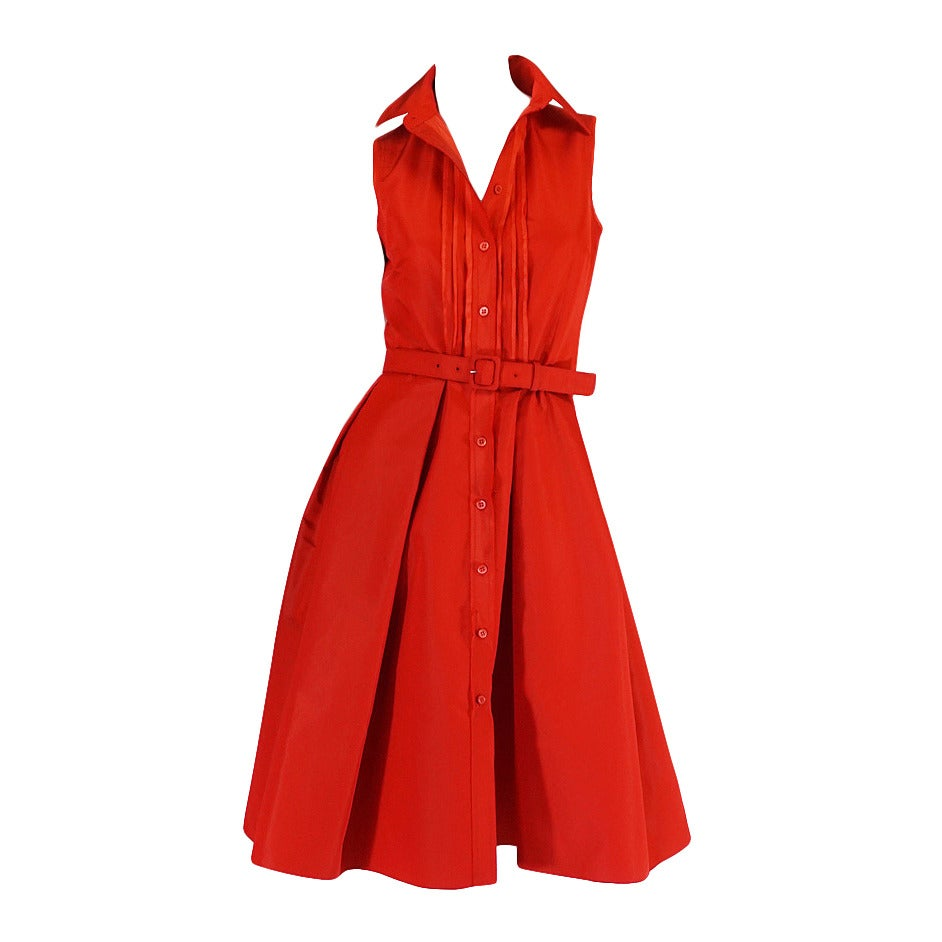 2000s Chic Prada Red Taffeta Button Front Day Dress For Sale
