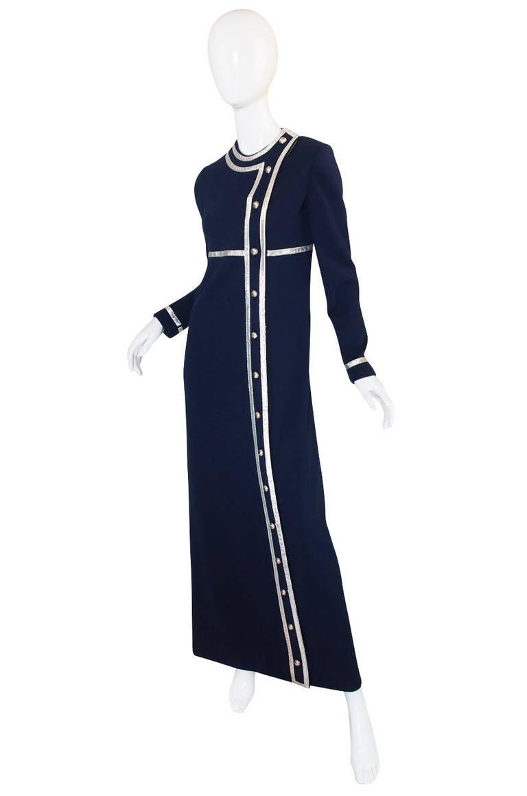 Black 1960s Geoffrey Beene Deep Blue & Graphic Silver Trim Dress For Sale