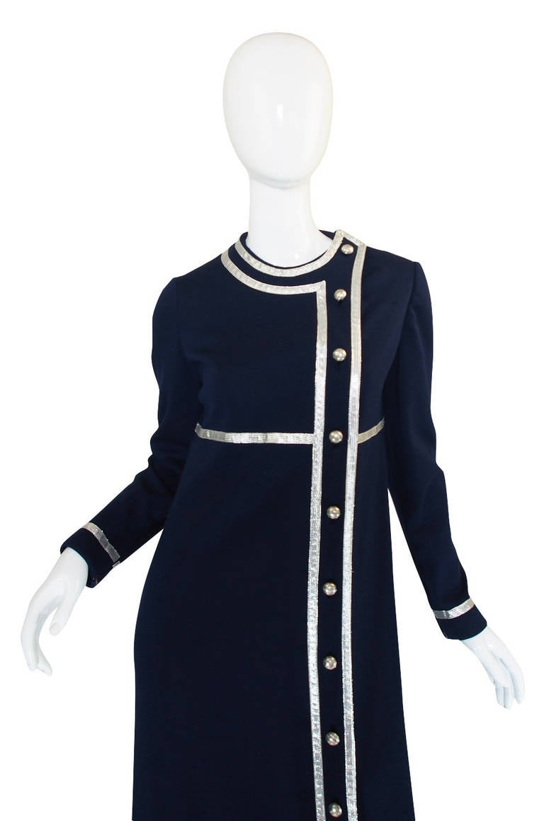 1960s Geoffrey Beene Deep Blue & Graphic Silver Trim Dress In Excellent Condition For Sale In Toronto, ON