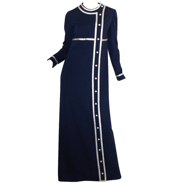 1960s Geoffrey Beene Deep Blue & Graphic Silver Trim Dress For Sale