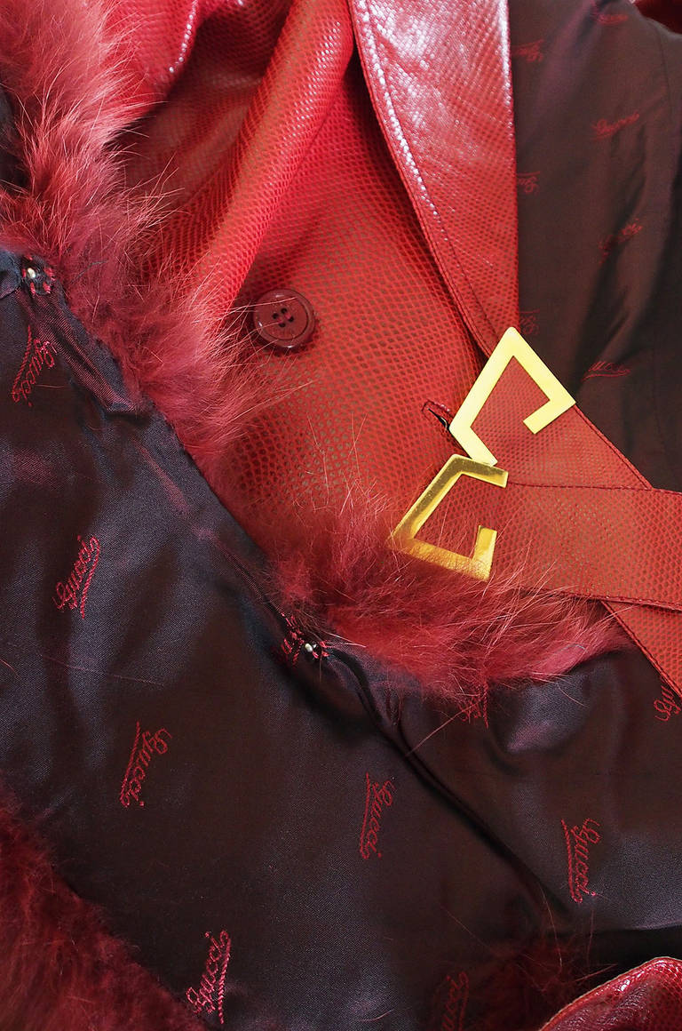 Rare 1970s Red Snakeskin & Fox Gucci Trench Coat 10