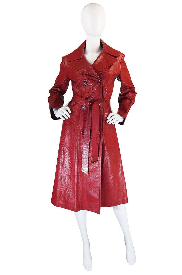 Rare 1970s Red Snakeskin & Fox Gucci Trench Coat 2