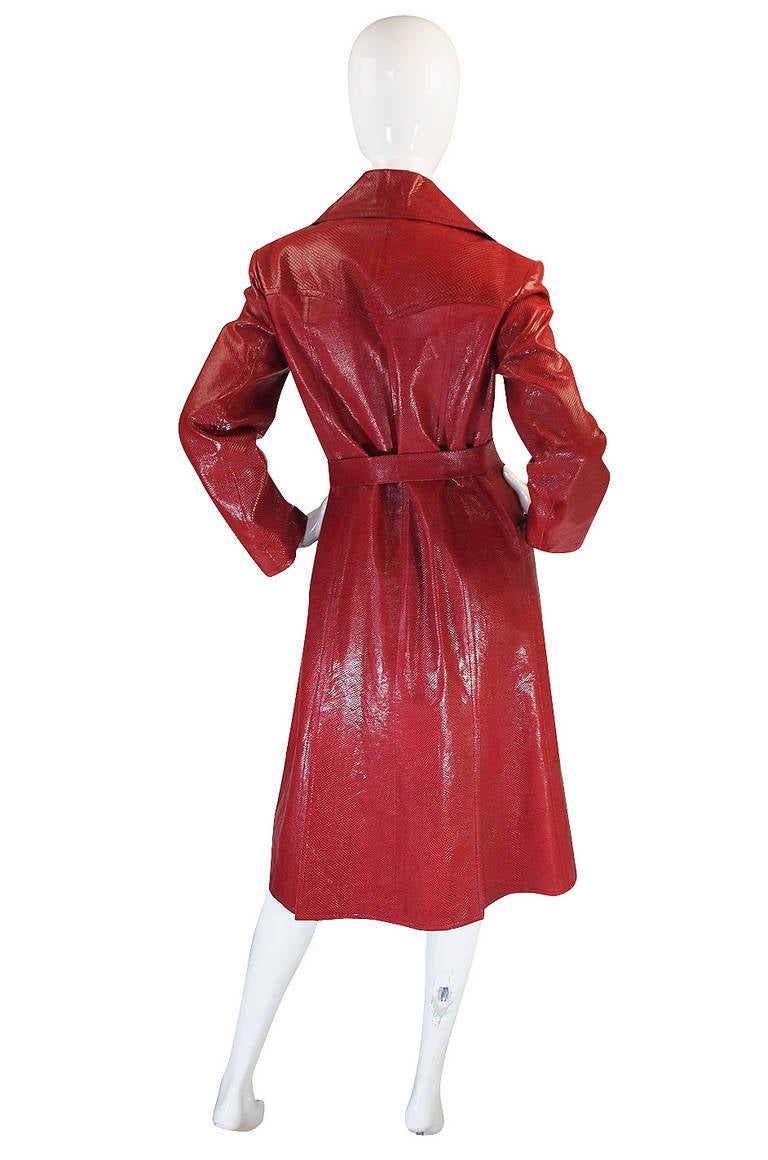 Rare 1970s Red Snakeskin & Fox Gucci Trench Coat 3